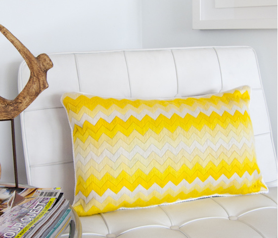yellow chevron needlepoint cushion