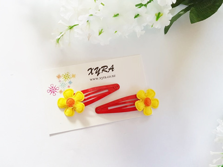 Yellow Flower in Red Snap Hair Clips
