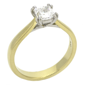 Yellow Gold and Platinum Double Prong Princess Diamond Solitaire Engagement Ring
