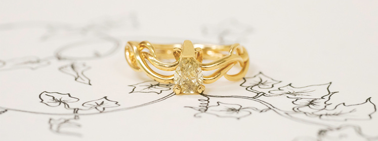 Yellow Gold and Yellow Diamond 'Ivy' Ring