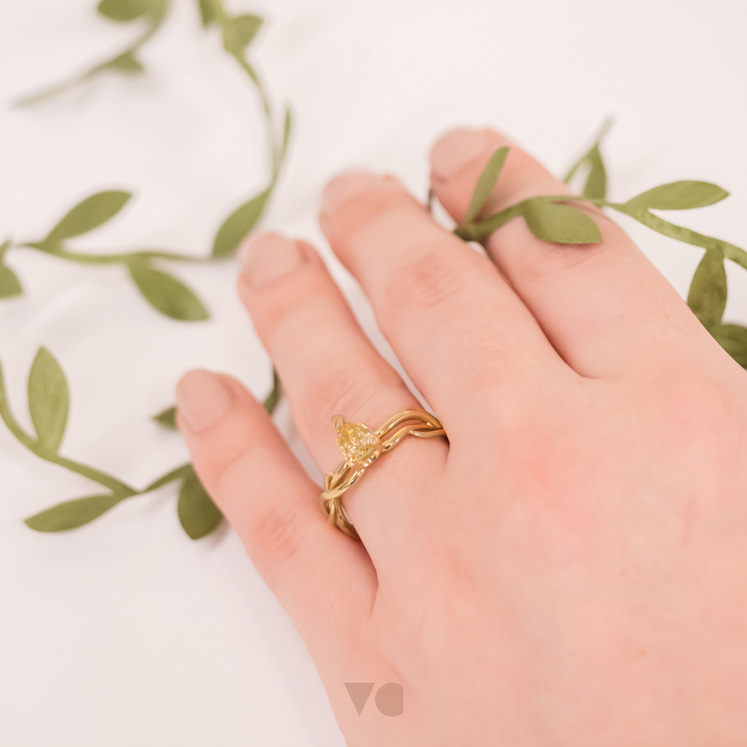 Yellow Gold and Yellow Diamond 'Ivy' Ring On Hand
