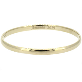 Yellow Gold Bangle with Engraving
