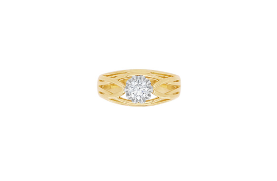 Yellow Gold Brilliant Cut Diamond Ring - Lauren