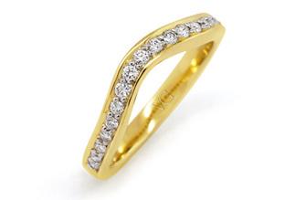 Yellow Gold Brilliant Cut Diamond Shaped Band