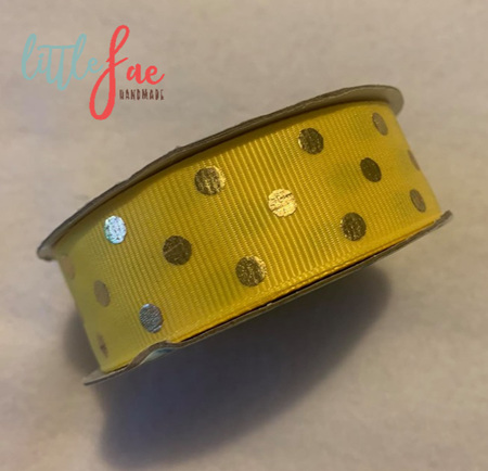 Yellow & Gold Polka Dot Hair Bows