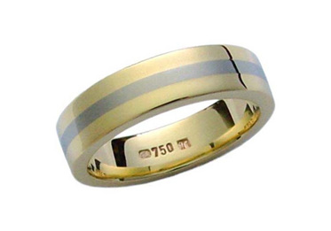 Yellow Gold Ring with Titanium Inlay