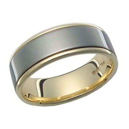 Yellow Gold Ring with Wide Titanium Inlay