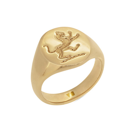 Yellow Gold Signet Ring with Lion Engraving
