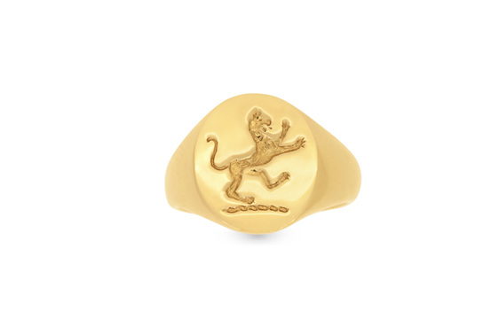 Yellow Gold Signet Ring with Lion Engraving Top Down View