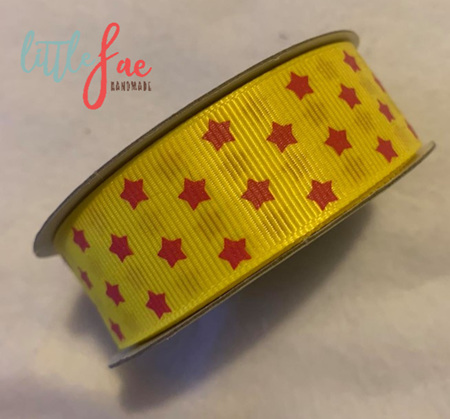 Yellow & Pink Stars Hairbows