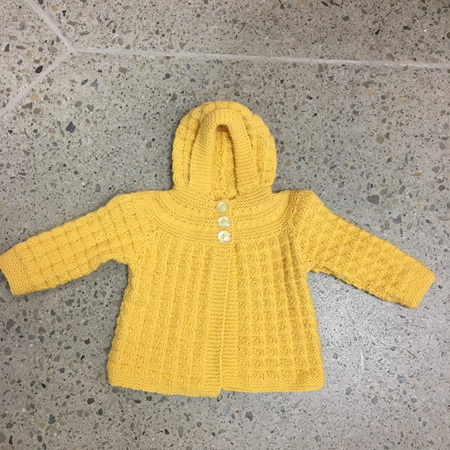 Yellow Pure Wool Hooded Jacket - 12-18 months