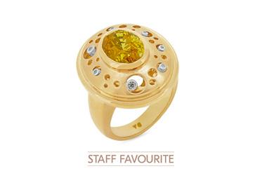 Yellow Sapphire and Diamond Handmade Ring
