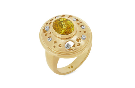 Yellow Sapphire and Diamond Handmade Ring