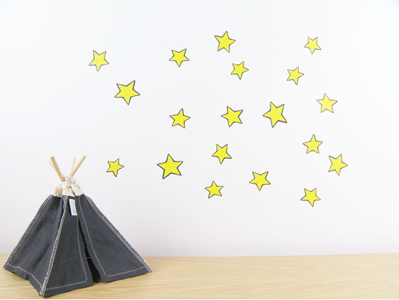 Yellow stars wall decal