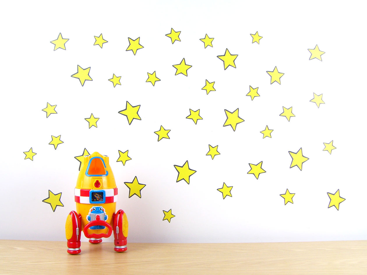 yellow stars wall decal stickytiki