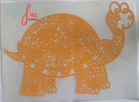 Yellow Tortoise Doodle Heat Press Vinyl
