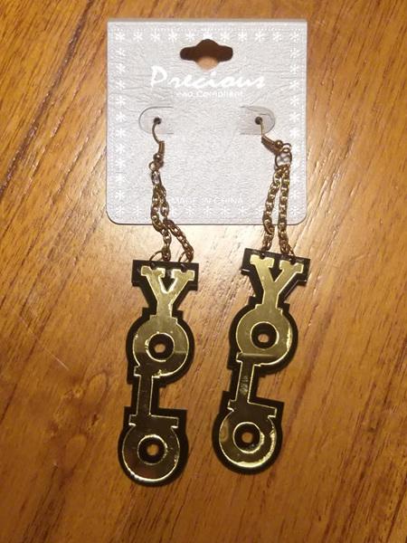 YOLO Gold & Black Dangling Earrings