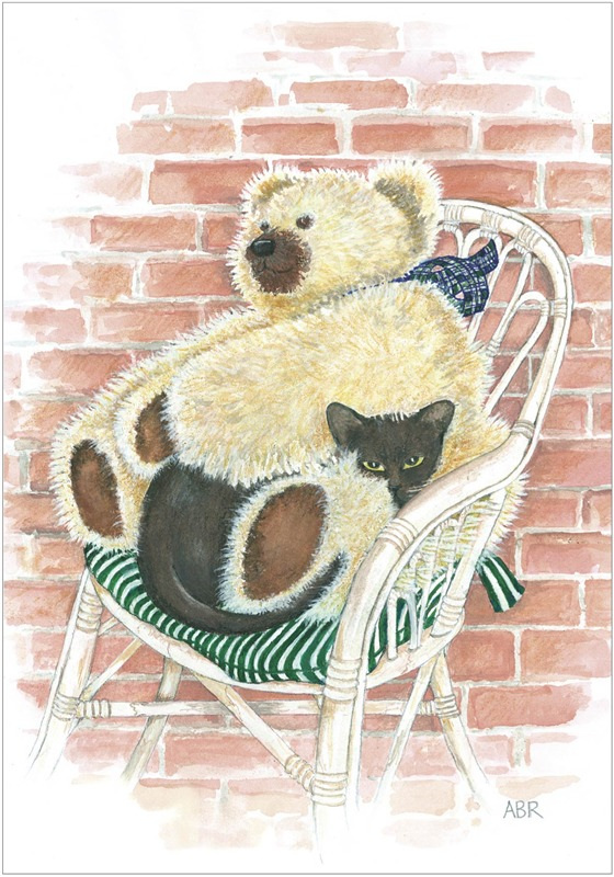 Young seal-brown burmese cat nestles in arms of big Teddy Bear in cane chair