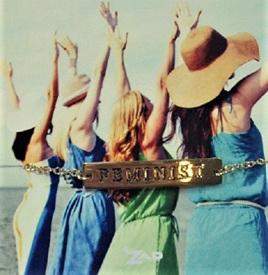 Zad Bracelet: Feminist - Gold Colour