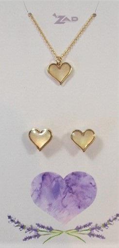 Zad Jewellery Set: Hearts - Cream/White Shell
