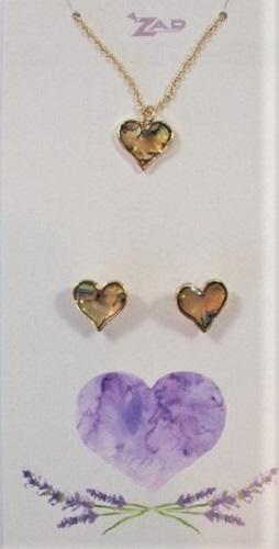 Zad Jewellery Set: Hearts - Multi-Coloured Shell