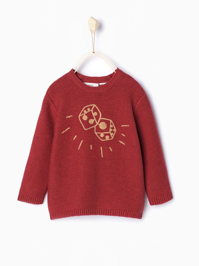 Zara Boys or Girls sweater with dice on the front Brick colour