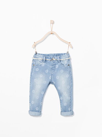 Zara Girls flower print denim Jeans