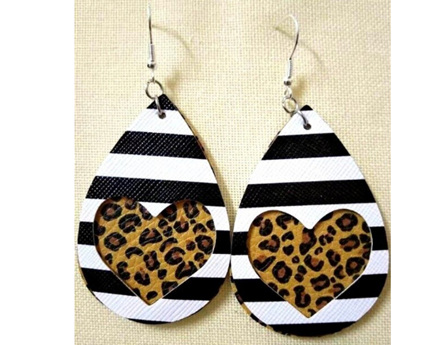 Zebra & Heart Design Faux Leather Earrings - Animal Print