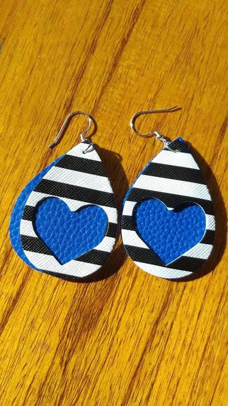 Zebra & Heart Design Faux Leather Earrings - Blue