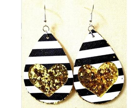 Zebra & Heart Design Faux Leather Earrings - Gold Glitter
