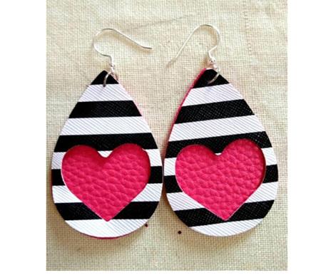 Zebra & Heart Design Faux Leather Earrings - Pink