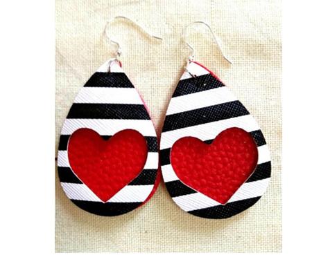 Zebra & Heart Design Faux Leather Earrings - Red