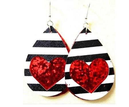 Zebra & Heart Design Faux Leather Earrings - Red Glitter