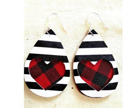 Zebra & Heart Design Faux Leather Earrings - Red Tarton