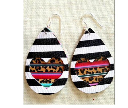 Zebra & Heart Design Faux Leather Earrings - Striped Animal Print
