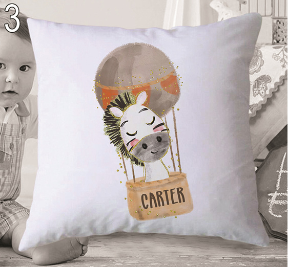 Zebra in Balloon Personalised Cushion Cover