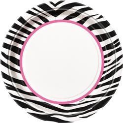 """Zebra Passion Party Plates x 8 9"""""""