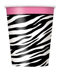 Zebra Pink Party Cups x 8