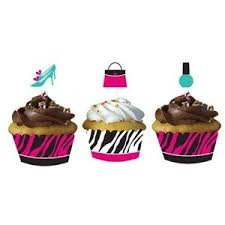 Zebra Print - Cupcake Wraps with Picks x 12