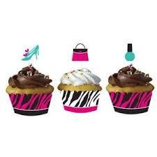 Zebra Print - Cupcake Wraps with Picks x 12