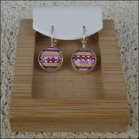 Zig Zag Glass Dome Earrings