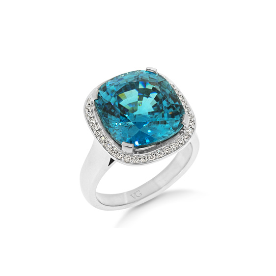 Zircon Dress Ring, White Gold, Halo, Diamond, Dress Ring, Costume Jewellery
