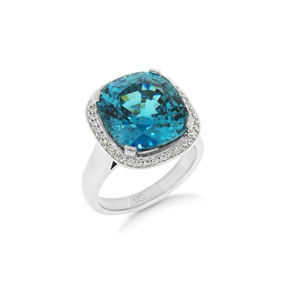 Zircon Dress Ring, White Gold, Halo, Diamond, Dress Ring, Costume Jewellery
