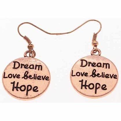 Zizu Rose Gold Inspirational Word Earrings