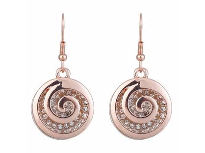 Zizu Rose Gold/Silver Spiral Crystal Earrings