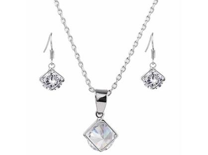 Zizu Silver Crystal Necklace & Earring Set