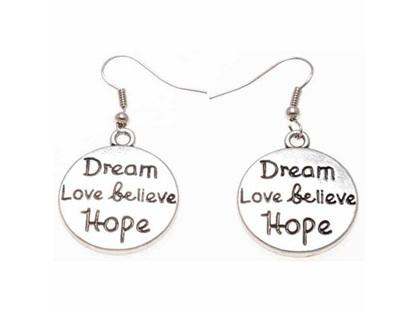 Zizu Silver Inspirational Word Earrings