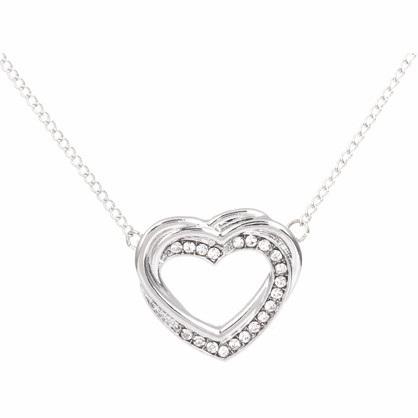 Zizu Silver Intertwined Heart Necklace